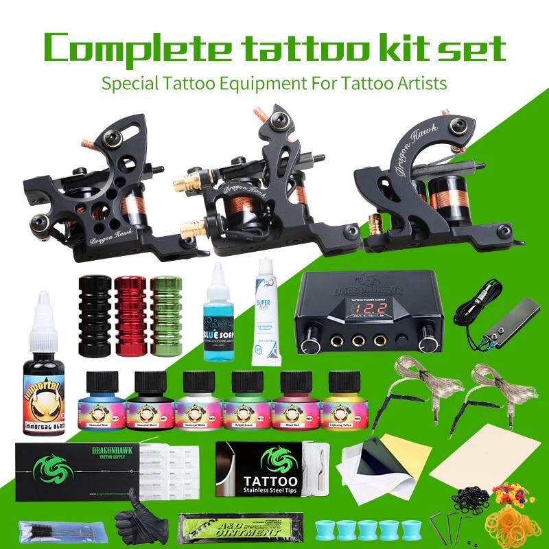 Professionnel De Tatouage Kits Top Artiste Ensemble Complet 3 Tatouage Machine Gun Doublure Et Ombrage De Tatouage Encres Puissance Aiguilles Tattoo Supply