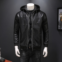 Повседневная мотоциклетная кожаная куртка с капюшоном и длинными рукавами на двойной молнии, приталенная мужская куртка на весну, осень и зиму