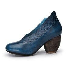 2017 Retro Style Handmade Shoes Women Chunky Heel Pumps Round Toe High Heels Genuine Leather