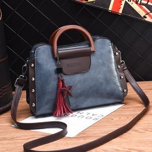 Image 3 - ETONTECK 2018 New Fashion Luxury Women PU Leather Handbags Vintage Rivet Tassel Messenger Bag for Female Ladies Shoulder Bag