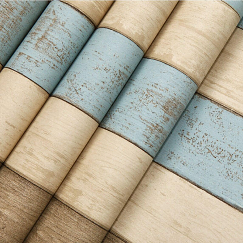 Beibehang Mediterranean blue living room bedroom 3D wallpaper wood vertical stripes retro wallpaper for walls 3 d papier peint beibehang wallpaper vertical stripes 3d children s room boy bedroom mediterranean style living room wallpaper