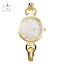 Shengke Pulsera Pulsera de Las Señoras Mujeres de Marcación de Oro de Moda de Lujo Relojes de Primeras Marcas de SK de la Muchacha Elegante Reloj de Cuarzo Relogios