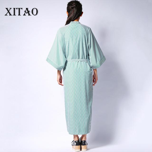 [XITAO] 2016 Korean autumn women loose striped shirt dress casual loose half sleeve stand collar ankle-length dress  HJF005