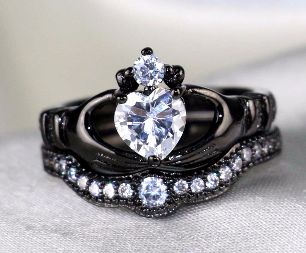 Irish Claddagh Ring Black Gold Filled Heart Cz Wedding Band Zircon Women's Engagement  Ring Sets(