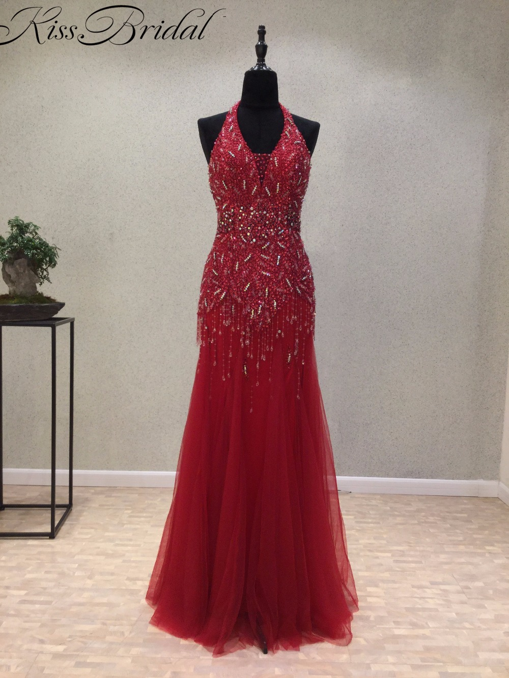 New Design Long   Evening     Dresses   2018 Halter Neck Sleeveless Floor Length Beading Tulle Mermaid Prom   Dresses   Vestido de festa