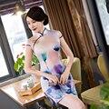 Floral Print Summer Dress Elegant Women Cheongsam Like Qipao Slim Bodycon Mini Short Sleeve Party Ladies Dress QP56