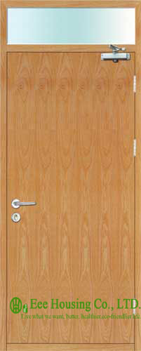 90 Minutes Single Leaf Wooden Fire Rated Doors,With Fire Glass, Commercial Timber Fire Rated Wooden Doors For  Projects