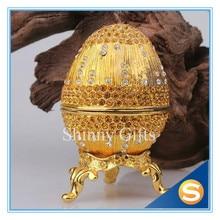 Metal Hand Painting Bejeweled Egg Jewelry Box Christmas Gift Trinket