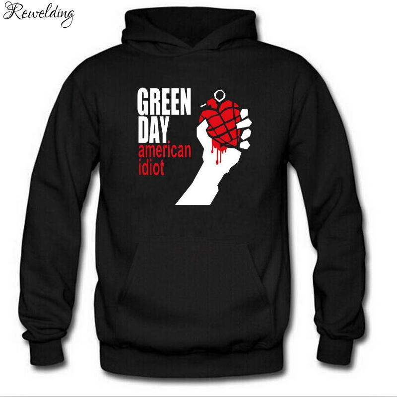 Autumn Winter Long Sleeve Fleece Hoodies Men GREEN DAY Printed Punk Rock Hip Hop Men Pullover Sweatshirts Cool Fans Clothing