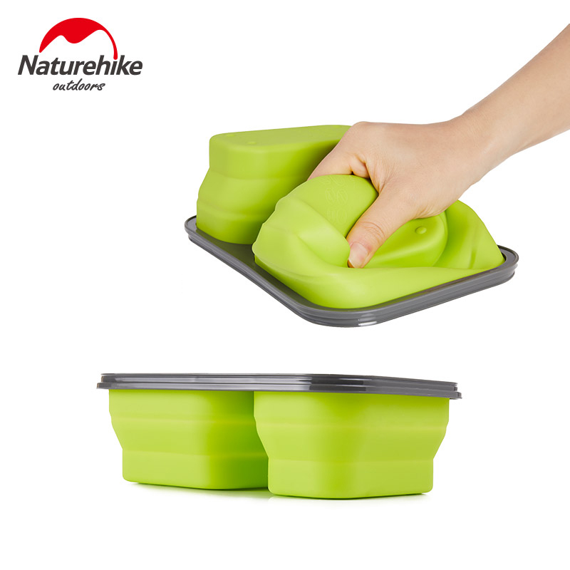 Naturehike Folding Travel Bento Boxes Microwave Dinnerware Food Storage Container Lunchbox Outdoor Camping Picnic Tableware in Outdoor Tablewares from Sports Entertainment