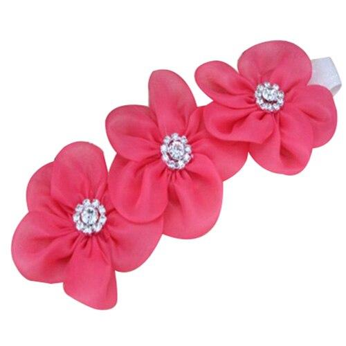 Горный хрусталь Головные уборы Обувь для девочек ленты для волос Швейные Цветы повязка Дети Роза красный