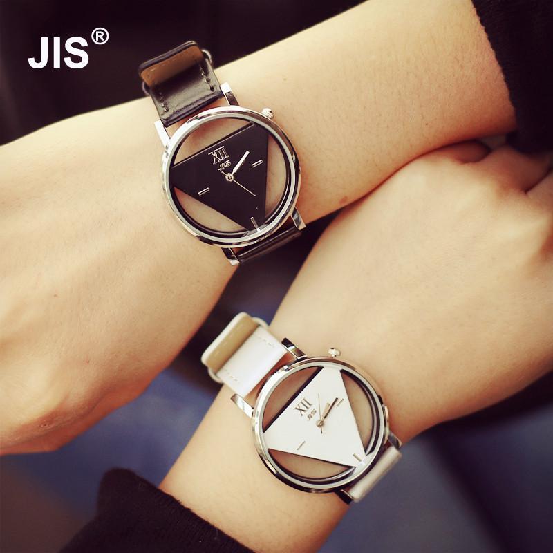Fashion JIS Brand Hollow Black White PU Leather Japan Core Quartz Wrist Watch Hours Clock For Women Men Unisex