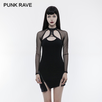 PUNK RAVE Punk Inclined Pendulum Dress Sexy Mesh Sheer Sleeve Asymmetric Hem Zipper Adjust Elastic Knit Low Bosom Dresses