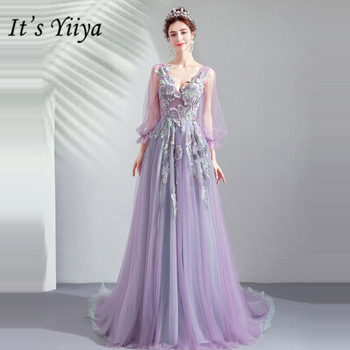 It's YiiYa Prom Gowns Purple V-neck Full Sleeves Floor Length Court Train Party Dress Custom Plus Size Dresses 2019 E247 - discount item  37% OFF Special Occasion Dresses