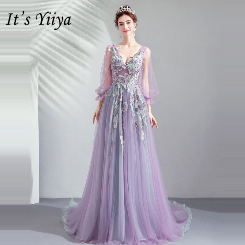 It's YiiYa   Prom   Gowns Purple V-neck Full Sleeves Floor Length Court Train Party   Dress   Custom Plus Size   Prom     Dresses   2019 E247