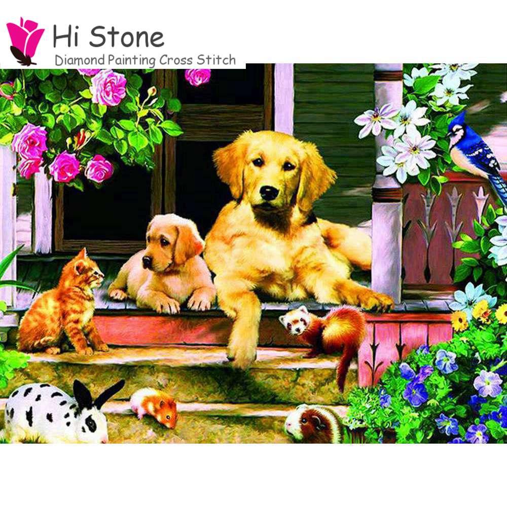 Новый 5D DIY алмазов картина вышивки крестом с рисунком собачки и котика Животные Алмазная мозаика Животные вышивка полный квадратный Стразы ...