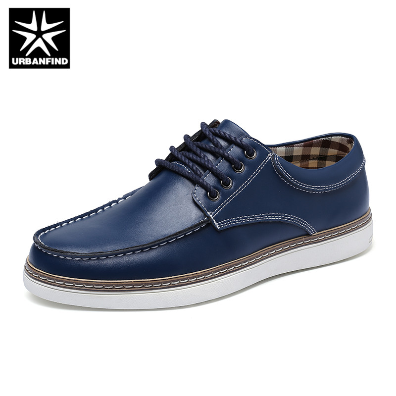 URBANFIND Big Size 38-47 Fashion Men Leather Sneakers Casual Shoes Spring Summer Footwear Male Lace-up Flats Black Blue Brown