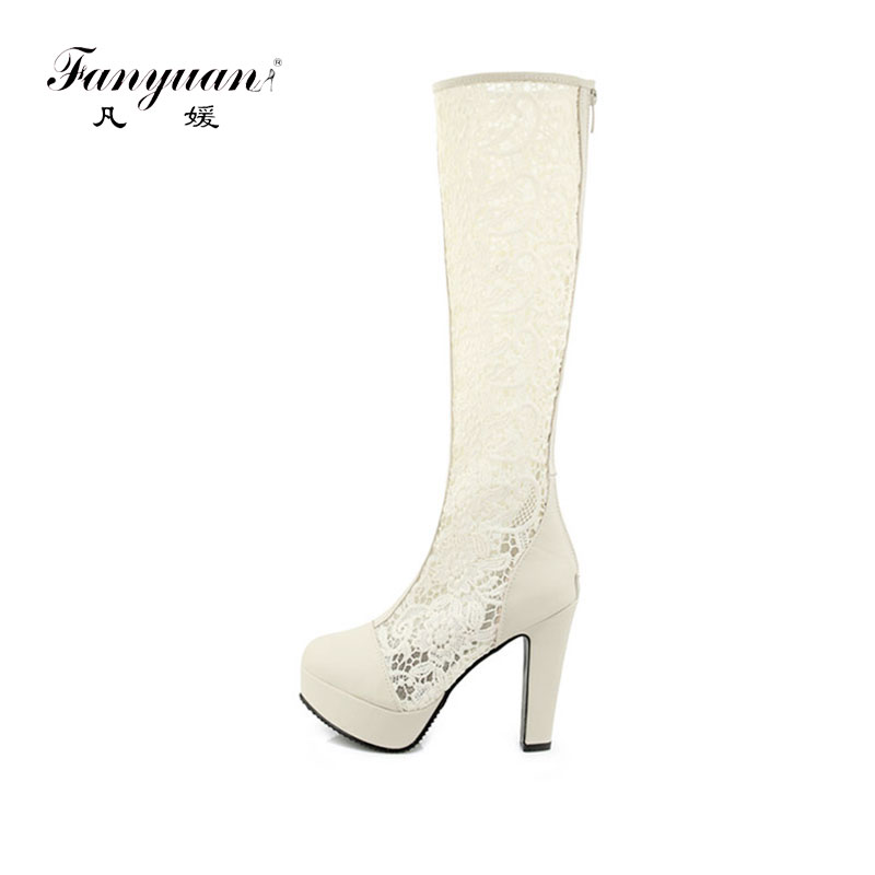 Fanyuan New Fashion Autumn Summer Boots Breathable Lace Women Knee High Boots Platform High Heels Cool
