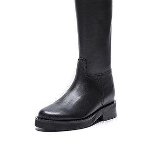 Image 5 - MORAZORA 2020 أعلى جودة جلد طبيعي حذاء برقبة للركبة النساء جولة تو ساحة الكعوب الخريف الأحذية سستة أحذية أنيقة امرأة