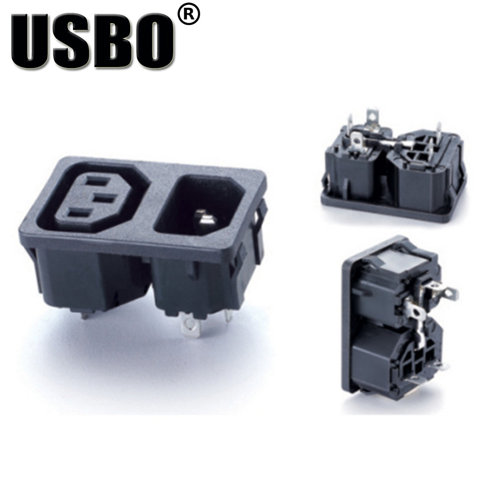 Wholesale Black 10A 250V abs material IEC C13/C14 industrial ... on