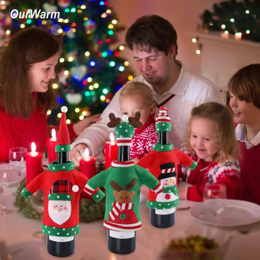 ... OurWarm Ugly Sweater Christmas Wine Bottle Cover 3 Style New Year s Bottle  Cover Christmas Decoration On ... 3487bb1959d15