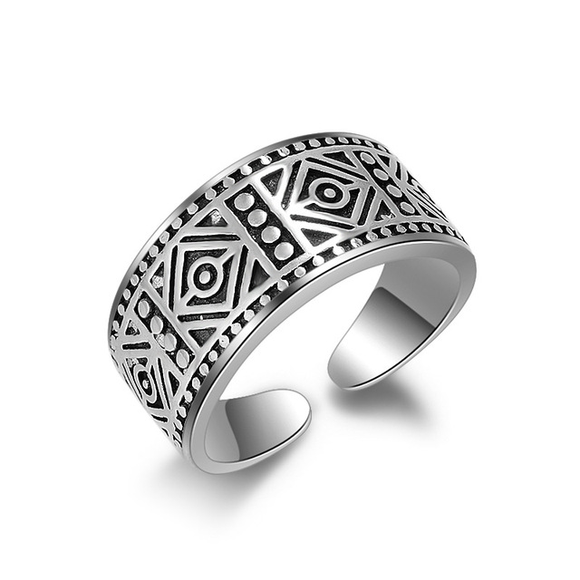 Vintage Fashion Elegant Open Cuff Finger Rings Retro Delicate Flower Carvings Unisex Woman/Man Cosplay Wide Band