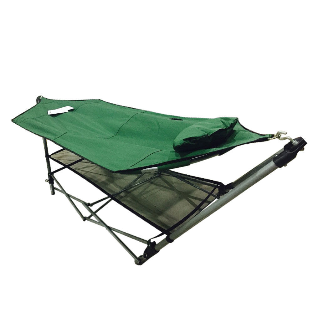 Foldable Leisure Enjoyment Outdoor Hammock with Hammock Stand Set Army Green HOT SALE цена 2017
