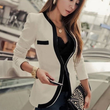 Women Fashion Business Coat Slim Fit Suit Blazer Pockets Lon