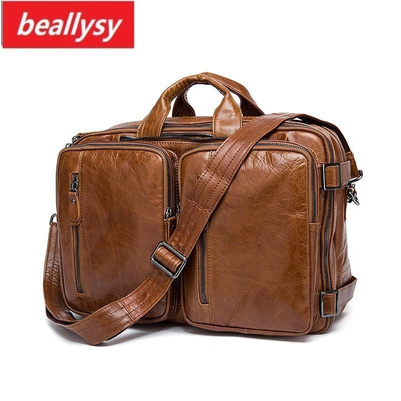 HOT Business Men Briefcase Handbags Leather Laptop Bag Men Messenger Bags Genuine Leather Men Bag Male Shoulder Bags Casual Tote