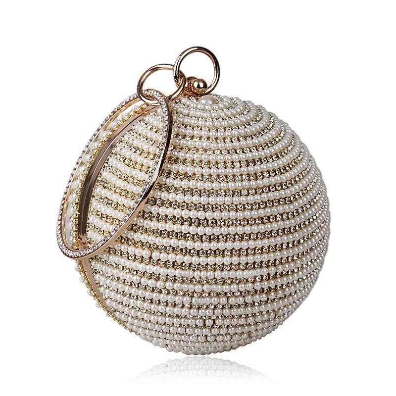 ... Best Price Women s Pearl Bag Pearl Beaded Diamond Tellurion Evening Bag  Bridal Wedding Round Ball Wrist e388eb281fe0
