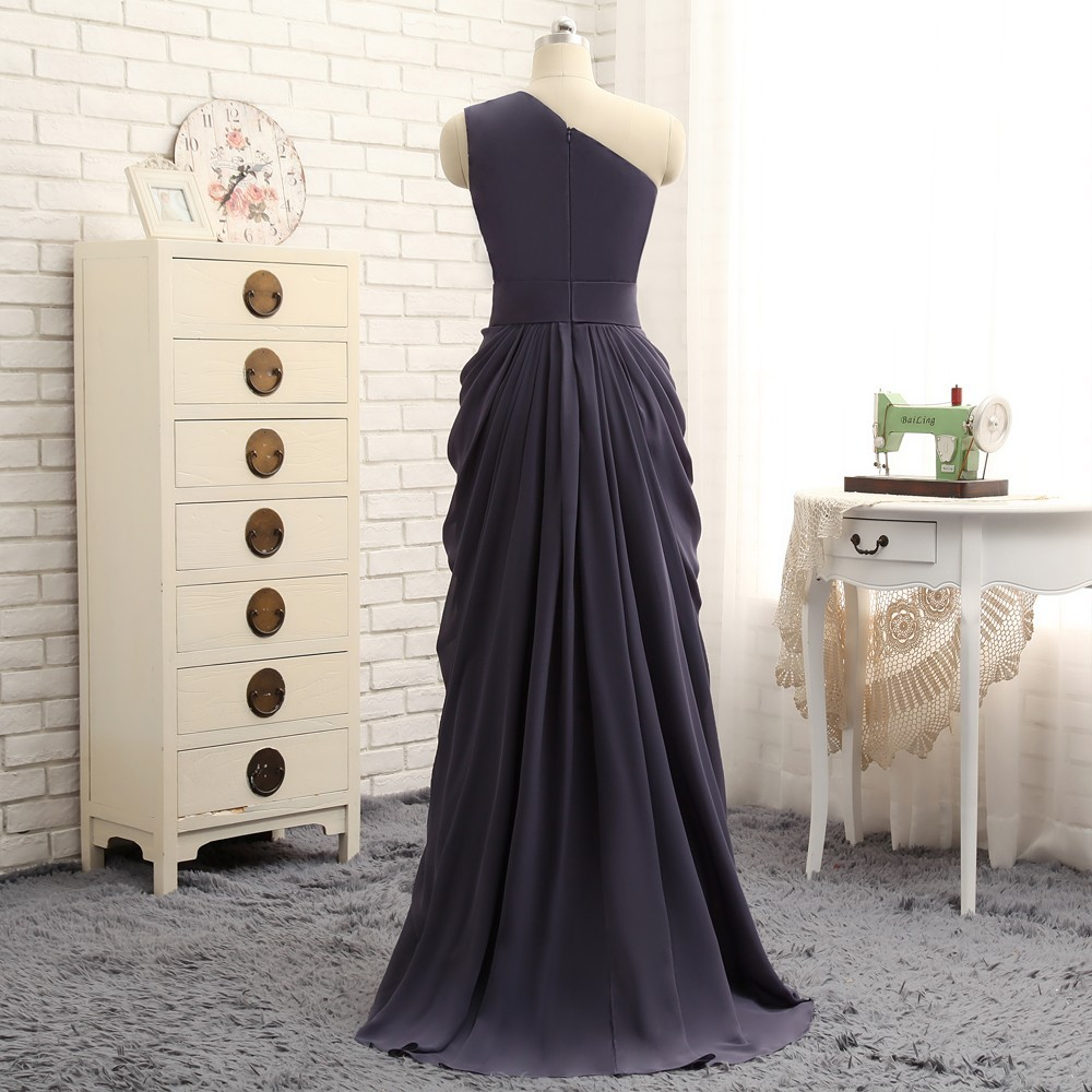 HVVLF 2017 Cheap Bridesmaid Dresses Under 50 A-line One-shoulder Gray Chiffon Pleated Long Wedding Party Dresses 6