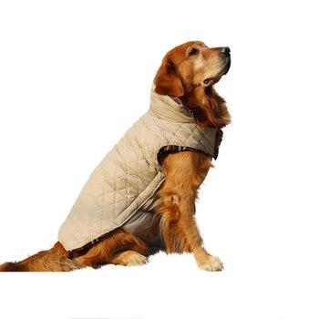 Otoño Invierno Reversible Plaid Warm Dogs chaqueta impermeable Down Cloth estilo británico ropa para mascotas abrigo mediano grande de perros