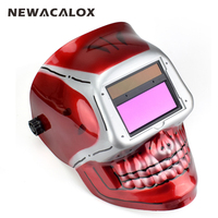 NEWACALOX Skull Helmet Stepless Adjust Solar Auto Darkening TIG MIG Electric Welding Mask/Helmet/ Lens Soldering Welder Machine