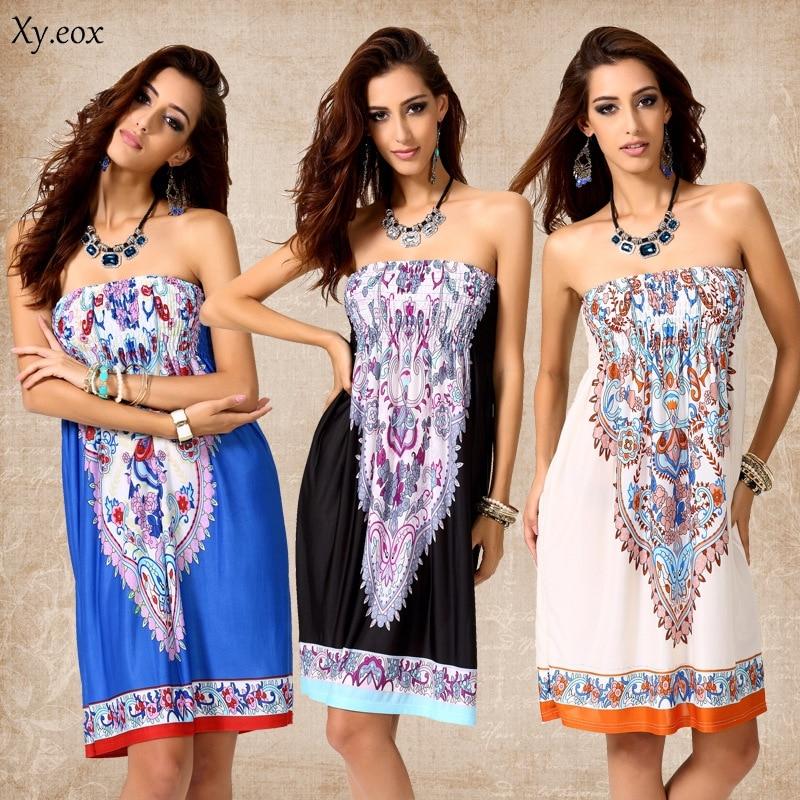 Women's Wrap Chest Sexy Dress Printing Beach Style Fashion Loose Dress Sundress Bohemian Style Milk Silk Ice Silk Dress