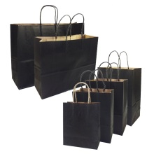 10 Pcs/lot Gift Bags With Handles Multi-function High-end Black Paper Bags 6 Size Recyclable Environmental Protection Bag