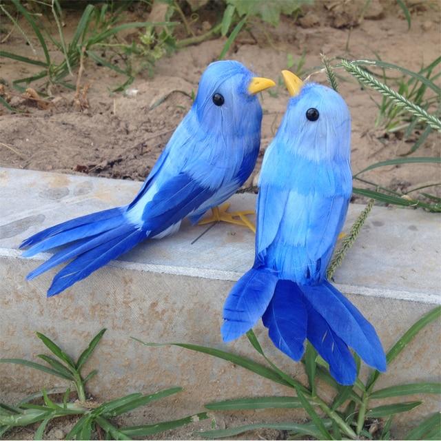 15 cm artificielle oiseau bleu plumes d 39 oiseaux 2 pi ces for Oiseau decoration jardin