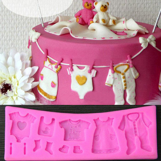 Pink Baby Shower Clothes Silicone Fondant Chocolate Mould Cake Decor Baking Mold Kitchen Accessories 17 4