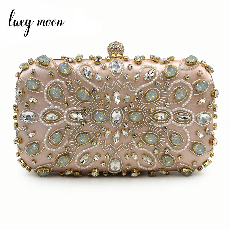 Luxy Moon Women Evening Bags Diamond Rhinestone Beaded Day Clutch Purse Petal bag Handbags Wallets Evening Wedding Bag ZD2006 xiyuan pink evening bags flat diamond rhinestone pearls beaded day clutches women purse handbags wallets wedding evening bag