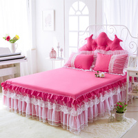 Princess luxury Bed Skirt Korean wedding bedding set white Lace rose red embroidery bedspread bed sheet 100% cotton 3pcs textile