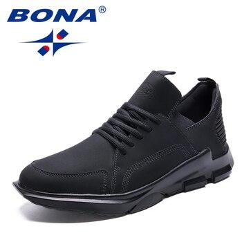 BONA החדש קלאסיקות סגנון גברים הליכה נעלי תחרה עד גברים אתלטי נעלי ריצה חיצונית סניקרס נוח רך משלוח חינם