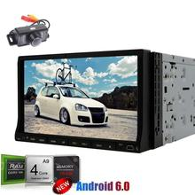 "Camera+Android 6.0 Car DVD Player 7"" Capacitive Screen Double 2Din Car gps Stereo In Dash GPS Navigation Radio Multimedia WiFi"