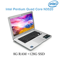 "ssd intel pentium n3520 8G RAM 128g SSD Intel Pentium N3520 14"" מחשב נייד מחשב נייד מקלדת ושפה OS כסף P1-09 זמין עבור לבחור (1)"