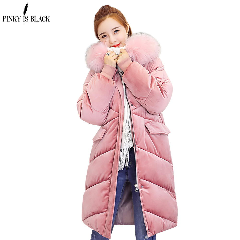 PinkyIsBlack 2018 wadded jacket female new winter jacket women down cotton jacket long   parkas   velvet ladies winter coat women