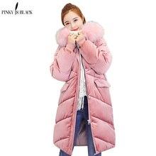 PinkyIsBlack 2019 wadded jacket female new winter women down cotton long parkas velvet ladies coat
