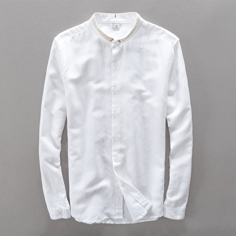 Suhaiwe moda moške slim majica z dolgimi rokavi posteljnina srajco - Moška oblačila - Fotografija 6