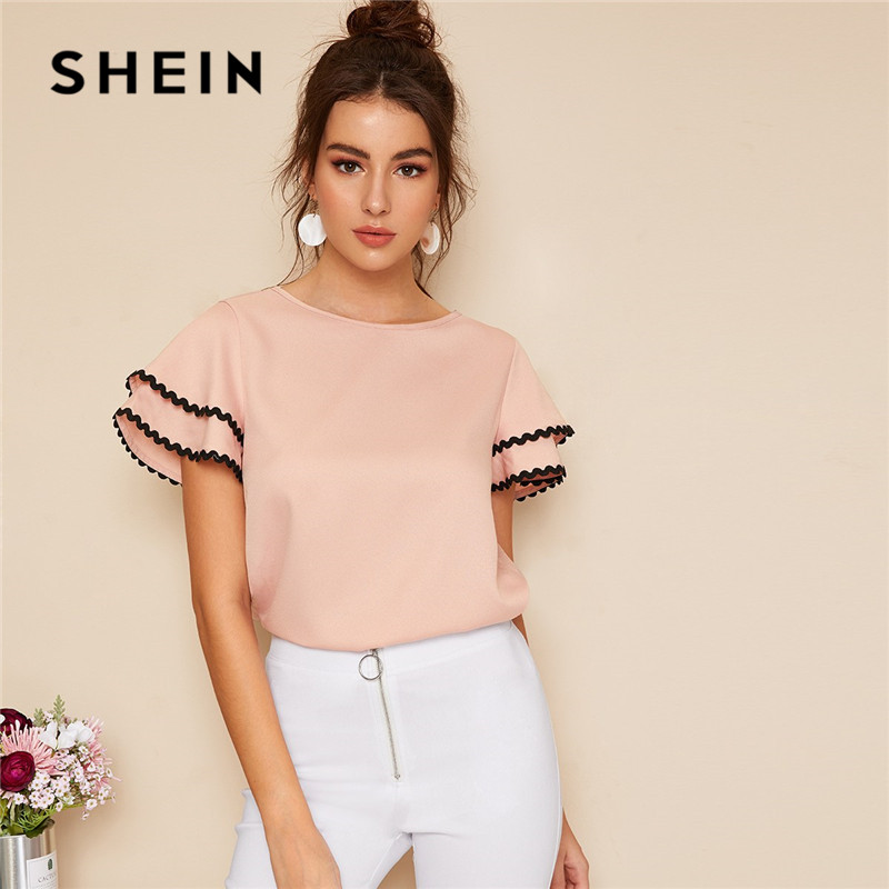 SHEIN Pink Contrast Wave Lace Trim Layered Ruffle Sleeve Women Blouse Top Summer Solid Casual Round Neck Short Sleeve Blouse