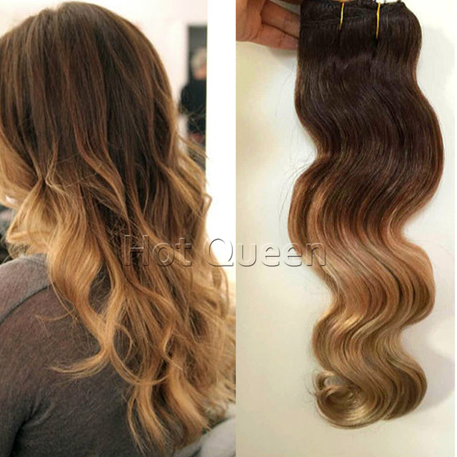 T327 Clip In Human Hair Extensions 2 Tone Ombre Hair Wavy 7pcs 140g