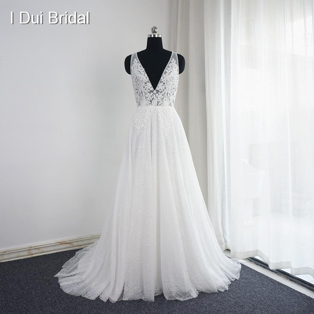 Vestido De Noiva V Neck Wedding Dresses Real Photo A Line Y Bohemia Beach Bridal Gown