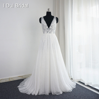 Vestido De Noiva V Neck Wedding Dresses Real Photo A Line Sexy Bohemia Beach Bridal Gown