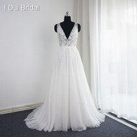 Vestido De Noiva V Neck Wedding Dresses Real Photo A Line Sexy Bohemia Beach Bridal Gown